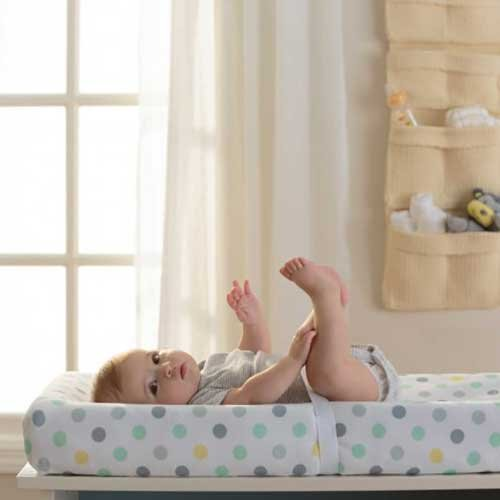 BreathableBaby Wick-Dry Changing Pad Cover- Aqua Dot