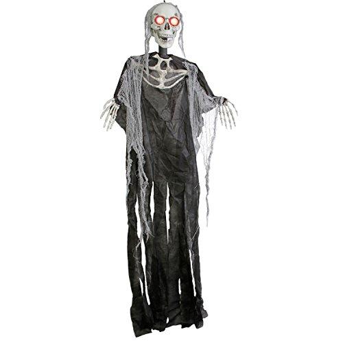 [Halloween Haunters 5' Hanging Skull Head Death Reaper Prop Decoration - Animated Bloodshot Red Light Up Eyes, Skeleton - Battery] (Black Spider Animated Prop)
