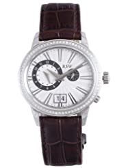 RSW Men's 9140.BS.L9.2.D1 Consort Diamond Stainless Steel Dual Time Zone Big Date Brown Leather Watch