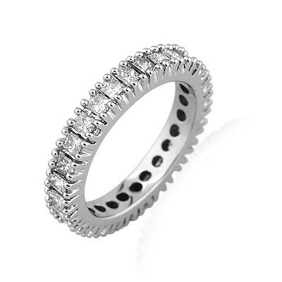 Brand New 1.00Ct Princess Diamond Full Eternity Ring, 9k White Gold
