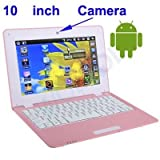 WolVol NEW (Android 4.0 - 1GB RAM) Sturdy PINK 10inch Laptop Notebook Netbook PC, WiFi and Camera with Showy Player (Includes Mini PC Mouse)