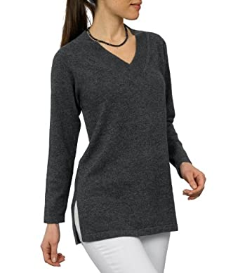 Wool Overs Women's Cashmere & Merino V Neck Tunic Sweater Charcoal Small