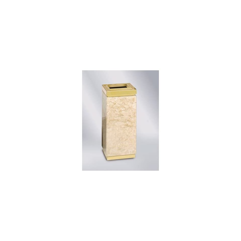 Designer Line Ash/Trash Receptacle Color Travertine Marble/Brass Stainless Steel