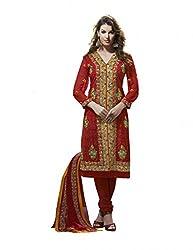 Nirali Women's Georgette Unstitched Dress Material (NRFKR NO 1521_Red Yellow Green)