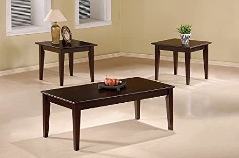 Beautiful 3 Pc Coffee Table Set In Cappuccino
