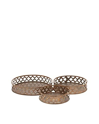 Set of 3 Metal Trays, Bronze