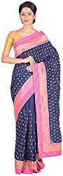 Sree Howrah Stores Women's Art Silk Saree with Blouse Piece (Navy Blue)