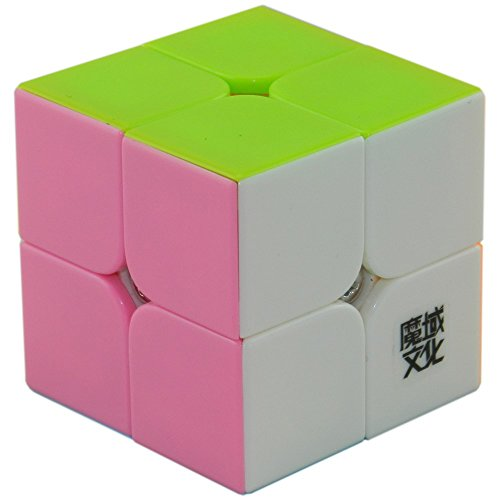 D-FantiX Moyu Lingpo Speed Cube 2x2 Puzzle Smooth Magic Cube 2x2x2 (50mm) Pink with Extra Cube Stand