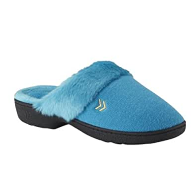 Isotoner Womens Blue Terry Cloth Slippers Fur House Shoes Clogs