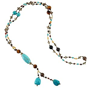 Chuvora Genuine Turquoise Stones Multi Gemstones Crystals Long Necklace 26''