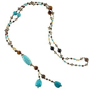 Chuvora Genuine Turquoise Stones Multi Gemstones Crystals Long Necklace 26''