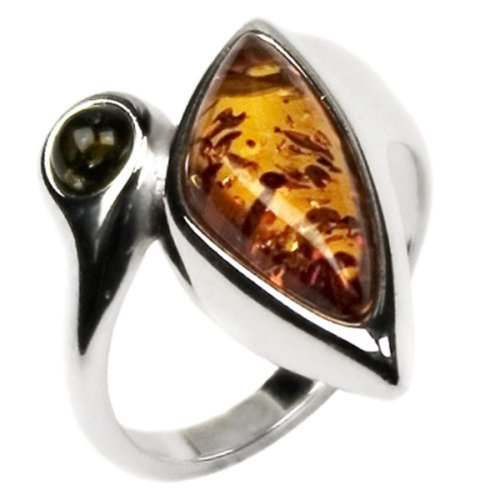 [Amber Sterling Silver Ring Elegant Collection Honey Green Ring] (Cocktail Honey Costumes)
