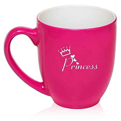 16 Oz Hot Pink Large Bistro Mug Ceramic Coffee Tea Glass Cup Princess With Crown