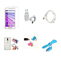 High Quality Combo of Moto G3 Temper Glass + 2 Amp USB Charger + Fast Charging Cable + Attractive Back Cover (Transparent Back with Golden Border) + OTG and USB Dual Card Reader