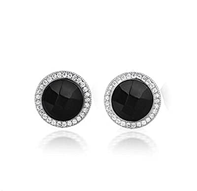 findout sterling silver round black onyx diamond earrings (f1520), size;. 11mm x 11mm