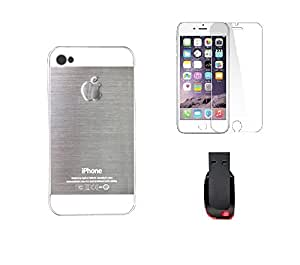 METLY Back cover for Apple IPHONE 5S With Temper Glass and Pen Drive 16GB Silver