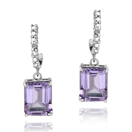 Sterling Silver 4ct Amethyst & Diamond Accent Rectangle Dangle Earrings