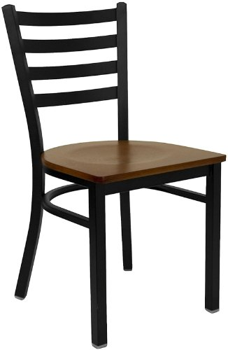 HERCULES Series Black Ladder Back Metal Restaurant Chair - Cherry Wood Seat [XU-DG694BLAD-CHYW-GG] (Dining Chairs Wood compare prices)