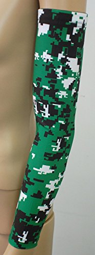 Nexxgen Sports Apparel Moisture Wicking Compression Arm Sleeve (Single) - Men, Women, Adult & Youth - 40 Colors – Digital Camo & Elite (Medium, Dark Green/Black/White)
