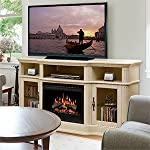"Portobello 68"" TV Stand with Electric Fireplace Insert Style: Logs, Finish: Parchment by Dimplex"