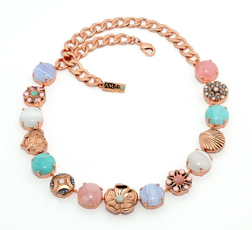 Israeli Amaro Jewelry Studio 'Flow' Collection Collar Necklace Designed with Amazonite, Blue Lace Agate, Mother of Pearl, Pink Quartz, Variscite, Swarovski Crystals; 24K Rose Gold Plated