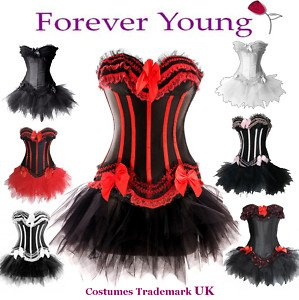 Forever Young Burlesque Moulin Rouge Lolita FANCY DRESS Corset & Tutu