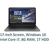 """2016 Newest HP 17.3"""" Performance Premium Laptop with Intel Core i7 up to 3.1GHz, 8GB DDR3 RAM, 1TB HDD, 17.3-inch HD+ LED Backlit Display, DVD+/-RW, USB 3.0, HDMI, Full Size Keyboard, Webcam, Win 10"""