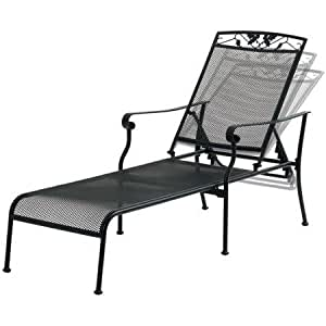 Mainstays jefferson wrought iron chaise for Black metal chaise lounge