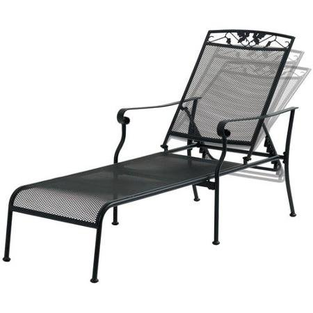 Mainstays Jefferson Wrought Iron Chaise Lounge, Black With 5-Position Adjustable Back (Wrought Iron Chaise compare prices)