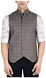 Suchos Men's Cotton Lycra Shirt (SJ18, Grey, L)