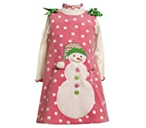 Bonnie Baby-girls Newborn Snowman Applique Fleece Jumper Set, Pink, 6-9 Months