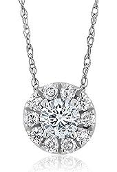 "0.30ctw Round Brilliant Diamond 14K White Gold Halo Pendant on 18"" Chain"