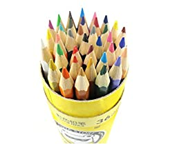 Echolife Portable 36 Count Assorted Colored Pencils for Adults Kids Coloring Books with Round Box (36 Assorted Colors)