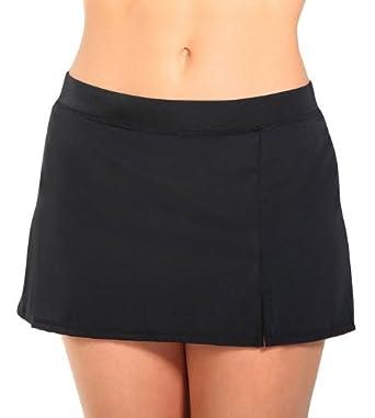 Caribbean Joe Solid Swim Banded Skirt 8 Black