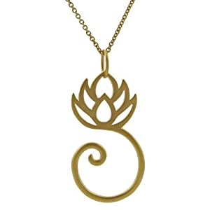Sterling Silver Vermeil-style Lotus Flower Necklace