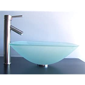 "1/2"" Thick Frosted Square Glass Vessel Sink + Brush Nickel Faucet, Pop Up Drain & Mounting Ring"