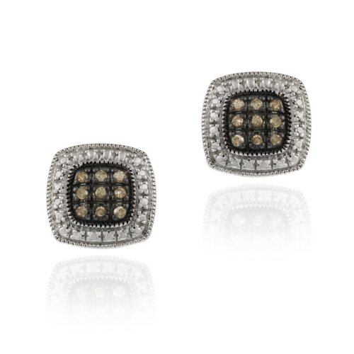 Sterling Silver 1/5ct TDW Champagne Diamond Square Earrings
