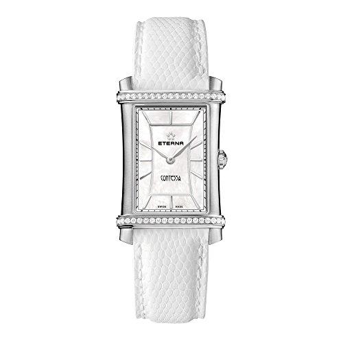 Eterna 2410.48.66.1200 Montre bracelet Femme, Cuir, couleur: blanc