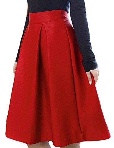 V28® Women High Waist Full A-Line Pleated Swing Dress Midi Skirt (2, Red) (Full Skater Skirt compare prices)