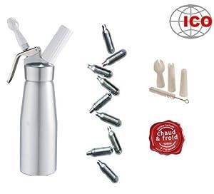 Siphon marque ICO à Chantilly Professionnel-mousses et crèmes - Chaud et Froid - Corps et Tête en Aluminium - 500 ML + 10 Cartouches marque ICO