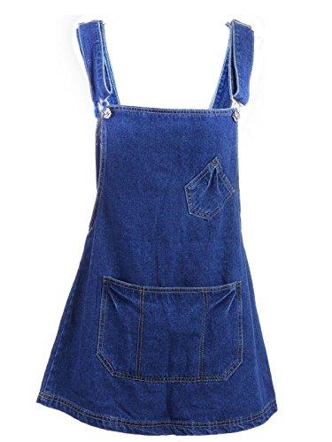 Anna-Kaci S/M Fit Blue Denim Pinafore Overall Style Small Back Zip Mini Dress