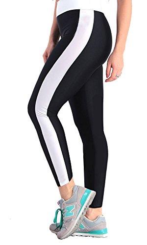 ILoveSIA Women's Tight Ankle Legging Capri US Size S Black+White