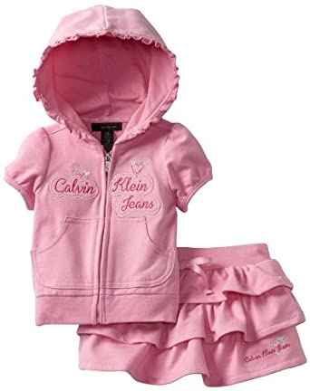 Calvin Klein Baby-Girls Infant Hooed Top With Skort, Pink, 12 Months
