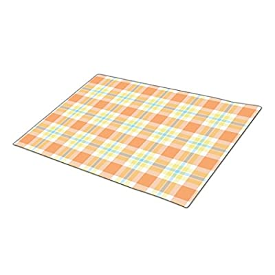 HomeTaste. Custom Doormat Light Blue Orange Yellow Lumberjack Plaid Pattern Front Door Rugs