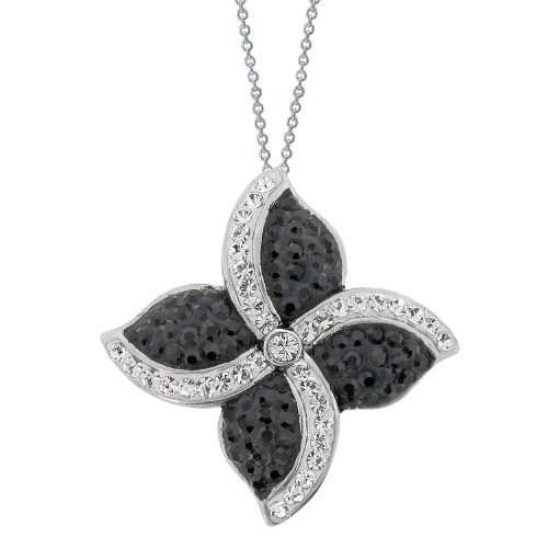 Stainless Steel Flower Shape Pendant Necklace with White and Black Swarovski Crystal Chain, 18