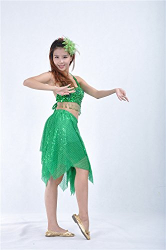 Dreamspell Belly Dance Women Suit 2 Pieces Dark Green Best Gift Stage Props