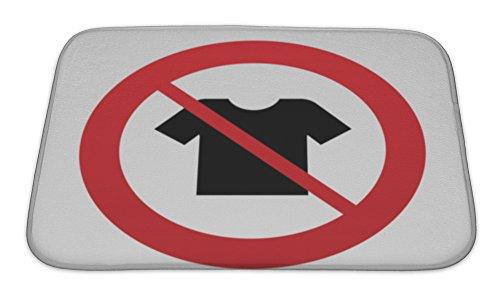 Gear New Bath Rug Mat No Slip Microfiber Memory Foam, White Tshirt Sign Icon Clothes Symbol, 24x17