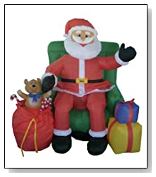 4' Airblown Inflatable Animated Musical Santa & Chair Lighted