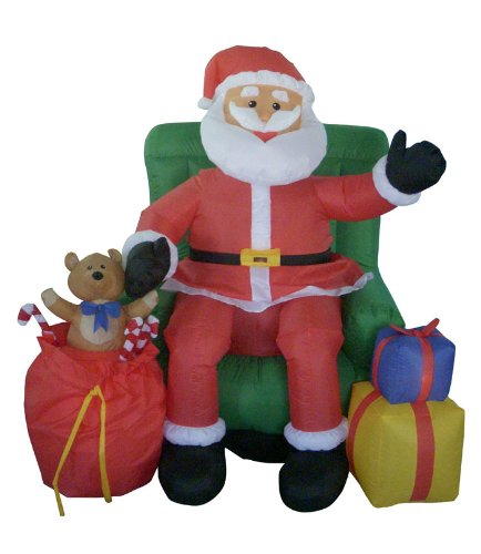 4' Airblown Inflatable Animated Musical Santa & Chair Lighted Christmas Yard Art