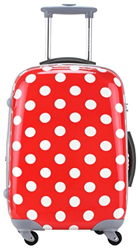 "Ambassador Luggage Polka Dots Polycarbonate Expandable 29"" Extended Spinner Suitcase Red"